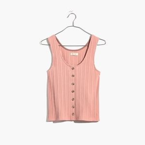 Madewell Ribbed Button-Front Tank Top Pink XS
